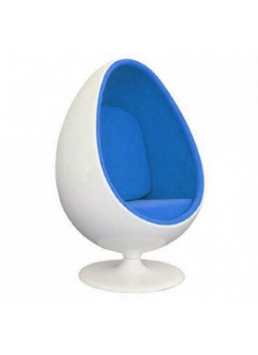 Beau Gloss White Egg Pod Chair   Blue