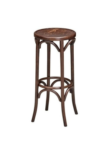 Vintage Dark Brown Thonet Bentwood Style High Stool
