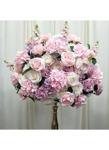 Pink & White Flowerball for hire with glass vase