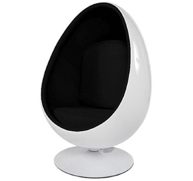 Gloss White Egg Pod Chair   Black Interior