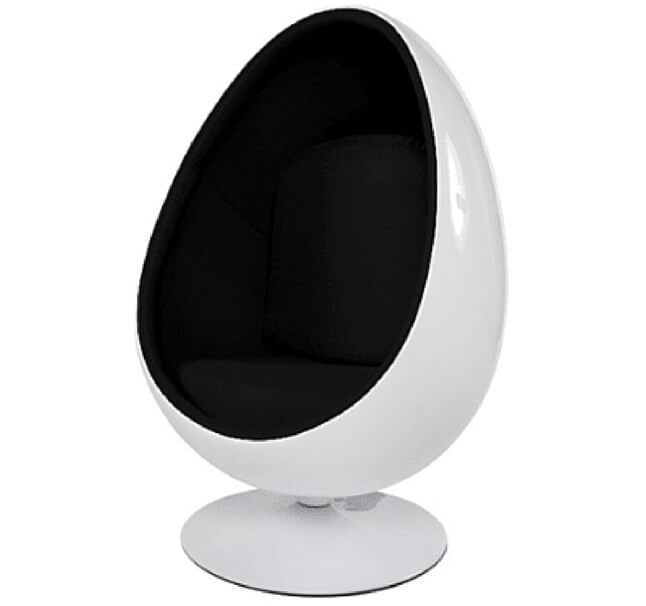 Exceptionnel Gloss White Egg Pod Chair   Black Interior