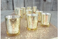 Gold Glass Tealight Candle Holders