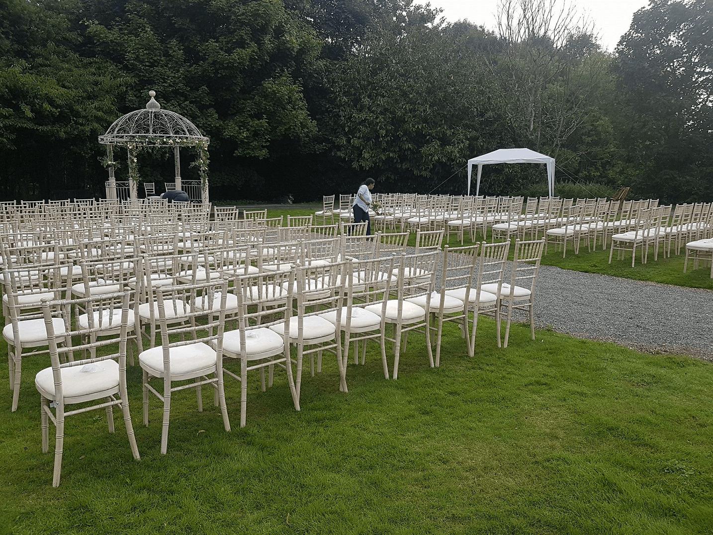Limewash chairs garden wedding