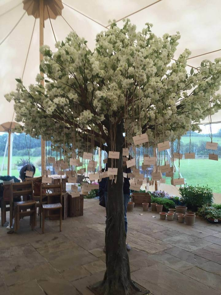 cherry blossom tree with hanging guest list table plan